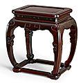 A rare zitan rectangular stool, Qing dynasty, <b>17th</b>-<b>18th</b> <b>century</b>