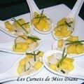 Ceviche de pétoncles et mangues en cuillères appéritives, sans gluten et sans lactose