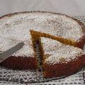 Gateau polenta aux eclats de chocolat et confiture d'oranges