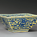 An underglaze blue-decorated yellow-ground square bowl, Jiajing six-character mark in underglaze blue and of the period (1522-1566)