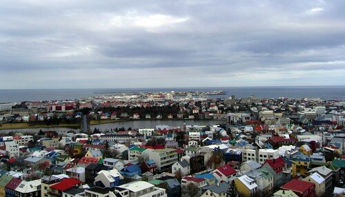 Reykjavik vue du clocher de l'église Hallgrims