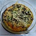 Omelette tomates cerises/ champignons de paris, <b>cuisson</b> au <b>four</b>