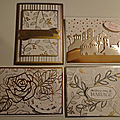 Vu d'ensemble des Cartes réalisées avec les papiers Printemps <b>métallisé</b> en cadeau Sale A Bration