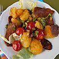 Salade tiède pommes de terre chorizo tomates