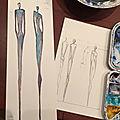 Création de sculptures longilignes sur-mesure, couple de statues