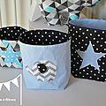 lot pochon rangement bleu noir gris chevron géométrique étoiles éléphant