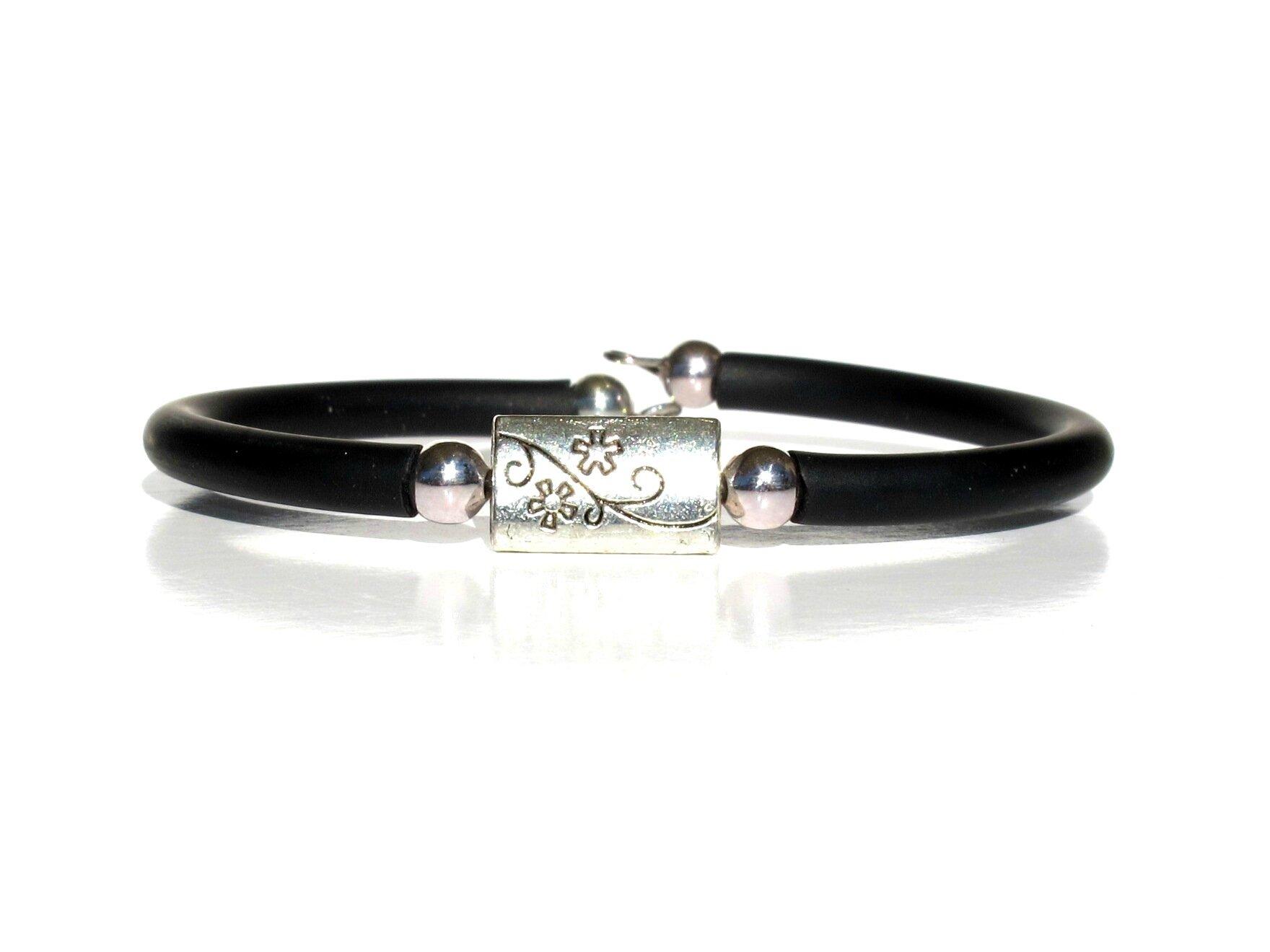 bracelet perle métal rectangle fleur buna cord2