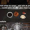 Chaud-froid autour du verger : mini tatin pomme cannelle, crumble poire chocolat, glace rhum raisins