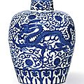 A rare blue and white 'Dragon' jar, Mark and period of Wanli
