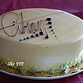 Gâteau d'anniversaire / génoise et glaçage miroir au citron