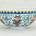 A doucai 'floral-bouquet' bowl, <b>Daoguang</b> <b>six</b>-<b>character</b> <b>seal</b> <b>mark</b> in underglaze-blue <b>and</b> <b>of</b> <b>the</b> <b>period</b> (<b>1821</b>-<b>1850</b>)