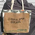 Sac cabas, sac de plage, sac upcyclé, sac toile de sac à <b>café</b>, modèle unique,