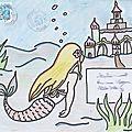 Petite sirène devant un palais sous-marin