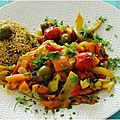 Tajine de poissons, olives et légumes.....
