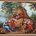 Appolon et les muses sur le mont parnasse d'après flamand XVIIéme