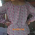 blouse fleurs roses