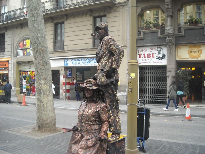 Statue vivante sur la Rambla de Barcelone