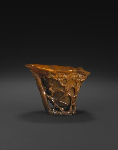 A carved rhinoceros horn libation cup, 17th-18th century. Photo Bonhams.