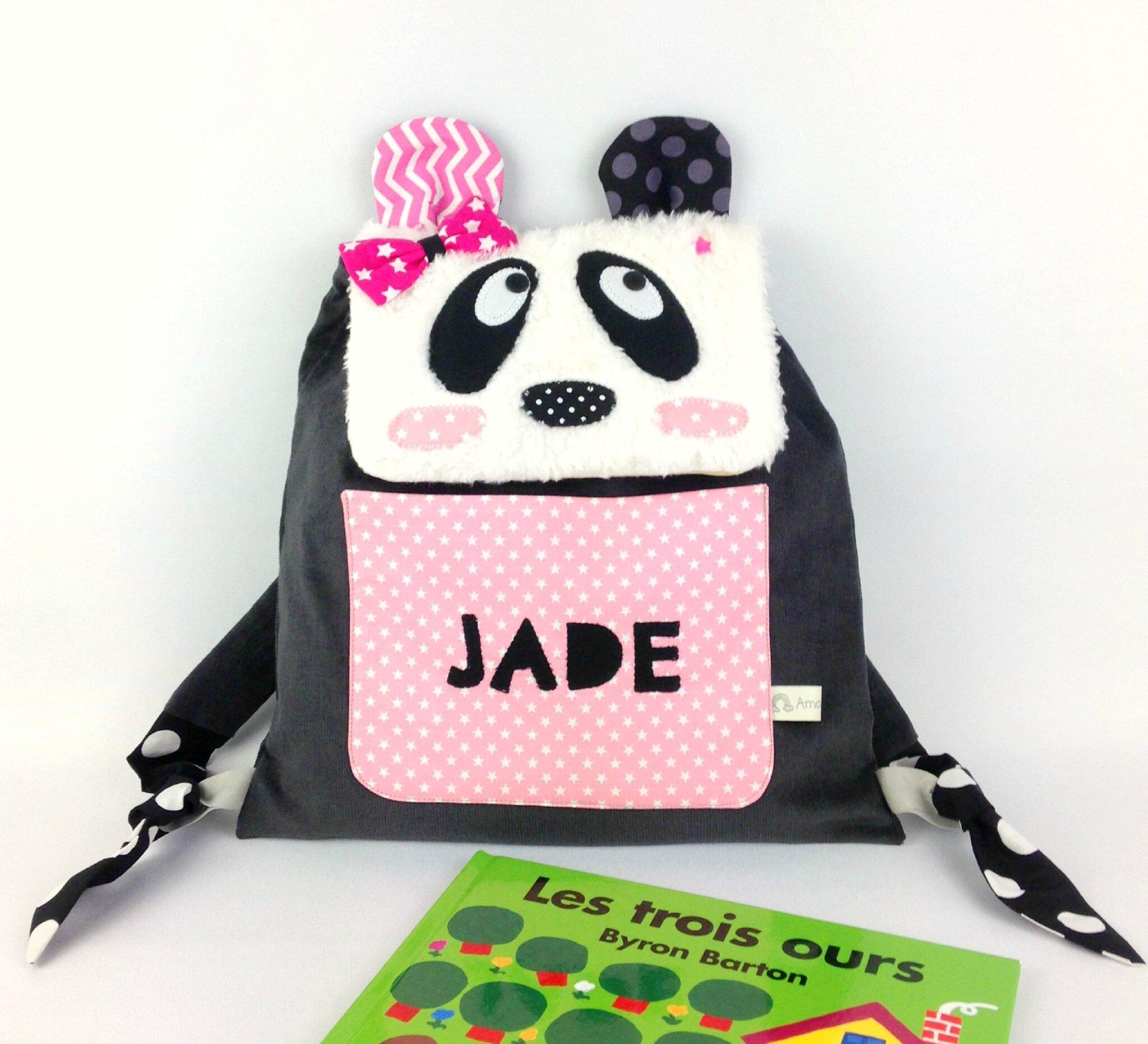 Sac à dos maternelle fille panda rose gris fuchsia personnalisé prénom Jade sac bébé crèche personalized name backpack girl panda grey pink