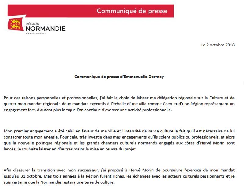 REGION: démission d'Emmanuelle DORMOY conseillère régionale, vice-présidente en charge de la Culture.