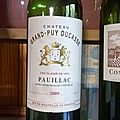 Château des Rochers 2001, Grand Puy Ducasse 2009, et Cos d'Estournel <b>2002</b>