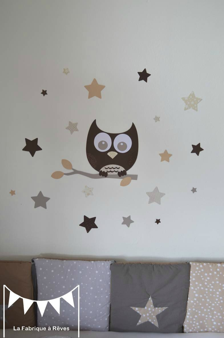 stickers d coration chambre enfant b b hibou chouette toiles beige taupe craft chocolat 2. Black Bedroom Furniture Sets. Home Design Ideas