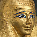 Metropolitan Museum of Art exhibits a spectacular ornamented ancient Egyptian coffin