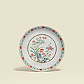 A Famille Rose yellow-ground floral dish, Jiaqing six-character seal mark in iron red and of the period (1796-1820)