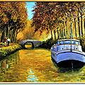Automne sur le Canal du Midi Format: 55 x 46