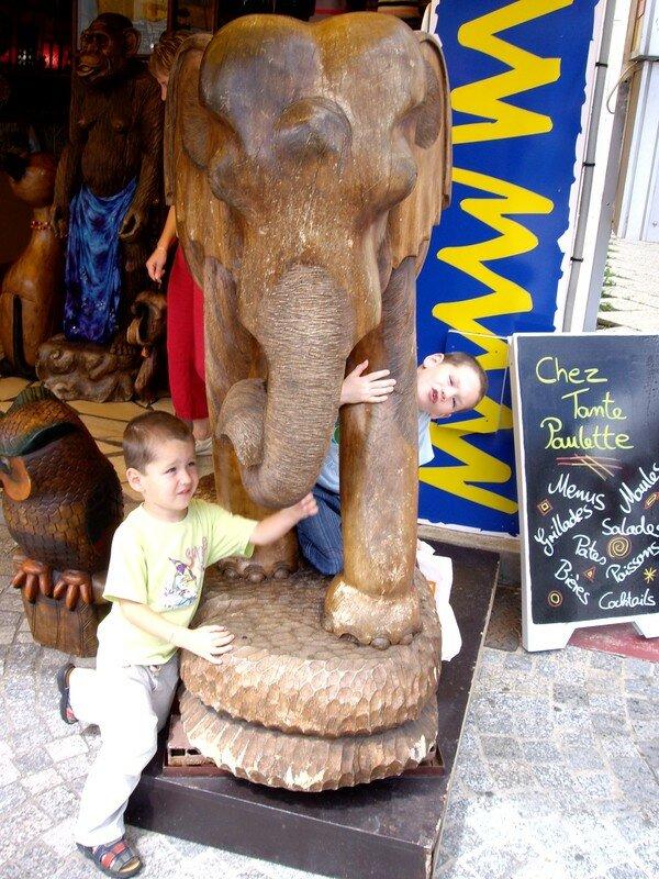 Les enfants et le gros éléphant
