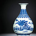 A fine Ming-style blue <b>and</b> white pear-shaped vase, yuhuchunping, <b>Daoguang</b> <b>six</b>-<b>character</b> <b>seal</b> <b>mark</b> <b>and</b> <b>of</b> <b>the</b> <b>period</b> (<b>1821</b>-<b>1850</b>)