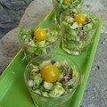 verrines thon rouge/avocats/citron vert