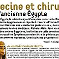 Medecine et chirurgie dans l'ancienne egypte (nouvel article)