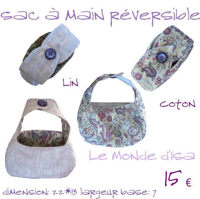 Petit sac à main lin naturel et coton vert, boutons violets