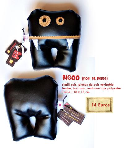 Bigoo ( Cuir et simili cuir noir et beige)