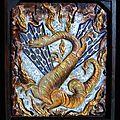 Dragon dans les flammes Bas-relief bois et matières Ghislaine Letourneur - Dragon in flames