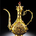 Two exceptionally rare imperial embellished <b>gold</b> ewer & jue and stand, Marks and Period of Wanli (1573-1619)