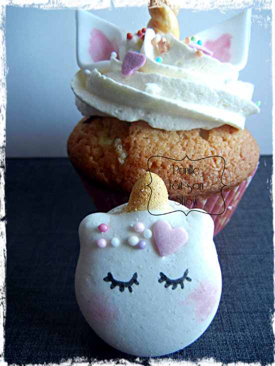 cupcakes licorne et macarons prunille fait son show
