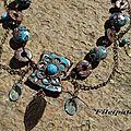 Colliers fimo marron/turquoise