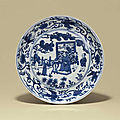 A blue and white dish, Wanli six-character mark and of the period (1573-1619)
