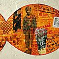 Street art, poisson, poules et papillons