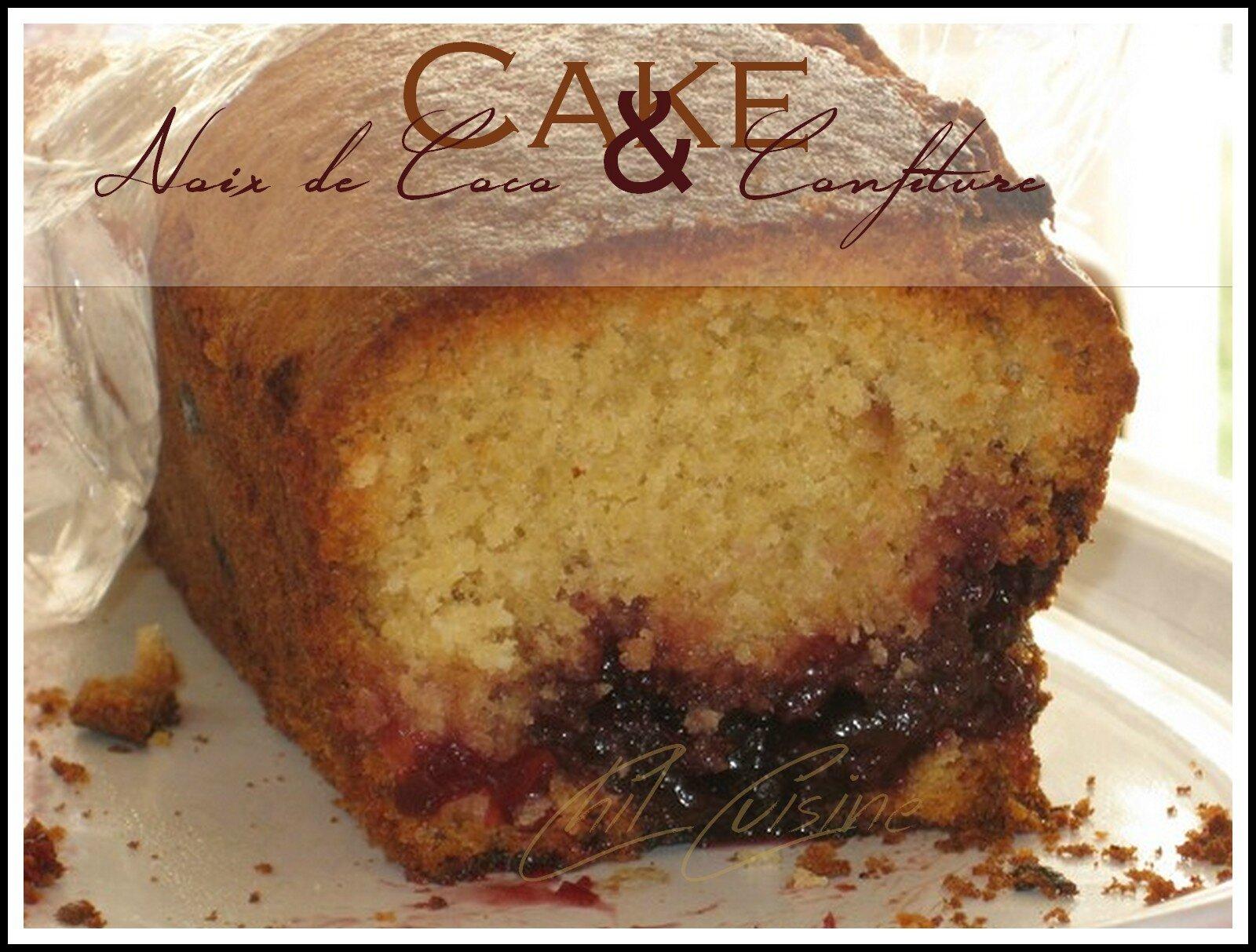 Cake noix de coco et confiture de griotte