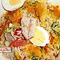 Salade de riz terre et mer.