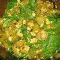 Salade de pommes de terre et pousses d'épinards