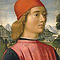 Davide Ghirlandaio and <b>Sebastiano</b> <b>di</b> <b>Bartolo</b> <b>Mainardi</b>, Portrait of a Young Man in Three Quarter Length, 1490