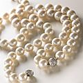 Two <b>South</b> Sea <b>cultured</b> <b>pearl</b> and diamond necklaces, Bulgari