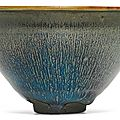 An exquisite and rare '<b>Jian</b>' '<b>hare</b>'<b>s</b> <b>fur</b>' 'tenmoku' bowl, Southern Song dynasty (1127–1279)