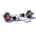 Boucles d'oreilles vintage <b>argent</b> <b>925</b>, perles de murano café
