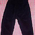 Pantalon velours noirs, 3 mois