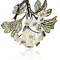 An art nouveau diamond, enamel and glass 'hawthorn' brooch, by rené lalique